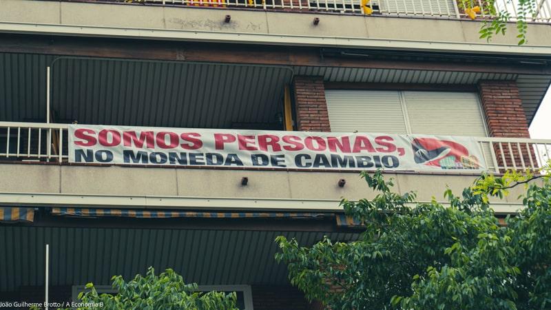 renda básica universal: protesto em barcelona